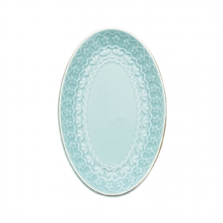 PRATO DECORATIVO OVAL AZUL