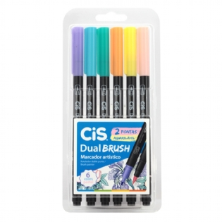 KIT MARCADOR CIS DUAL BRUSH PASTEL C/6