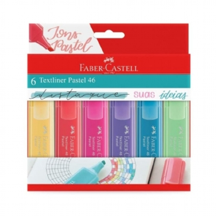 MARCA TEXTO FABER CASTELL 6 CORES PASTEL
